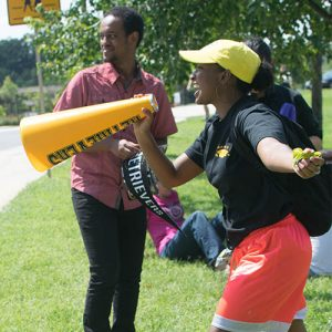 Welcome Week excited Woolie with a bullhorn